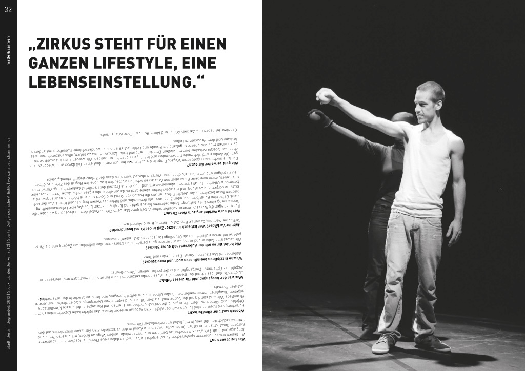 Doppelseite aus Magazin Initiative Neuer Zirkus