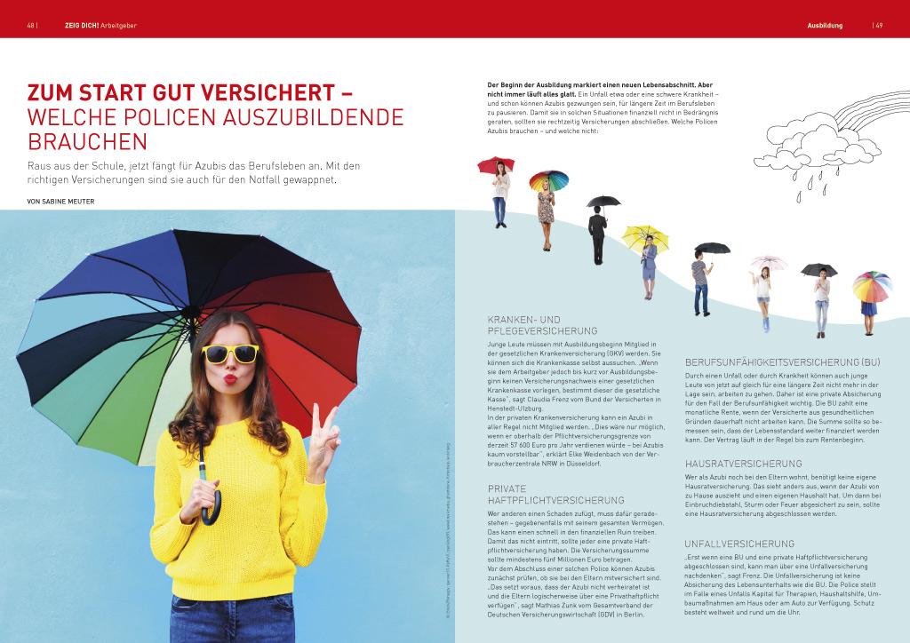 Doppelseite aus dem Magazin ZEIG DICH Arbeitgeber