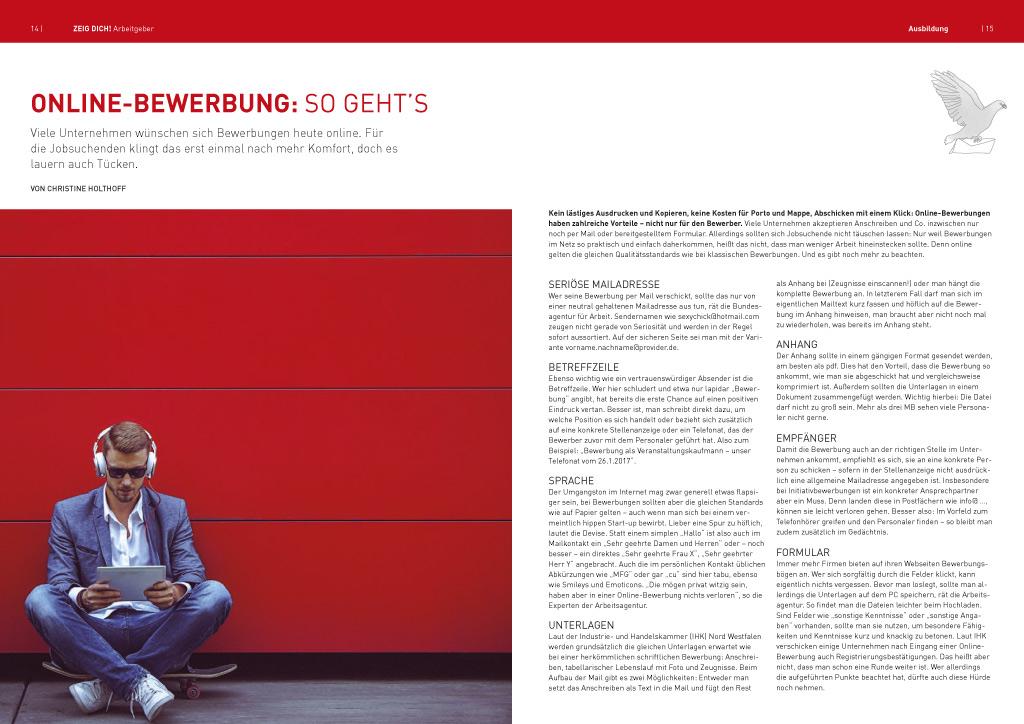 Doppelseite im Magazin ZEIG DICH Arbeitgeber