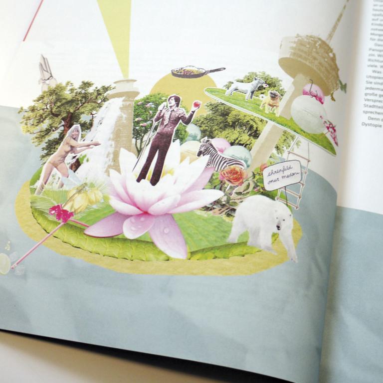 """Collage """"Schwimmende Insel"""" im Magazin ehrenfelder"""